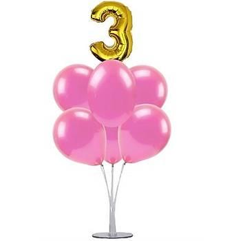 Pembe 3 Yaþ Balonlu Balon Standý - 1 Adet Stand ve 10 Adet Metalik Balon ve 50 cm Folyo Balon