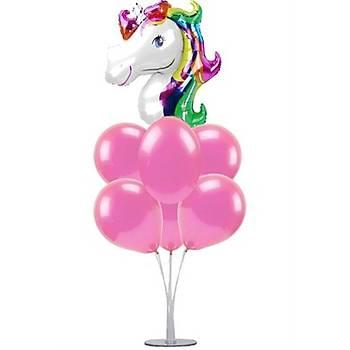 Unicorn Balonlu Balon Standý - 1 Adet Stand ve 10 Adet Metalik Balon ve 50 cm Folyo Balon