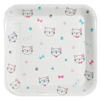Miss Cat - Kedi Baskýlý Karton Tabak 8'li - 18 cm