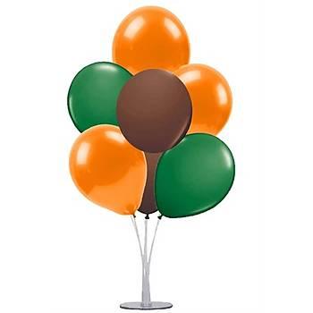Safari Renkleri Balonlu Balon Standý - 1 Adet Stand ve 10 Adet Metalik Balon