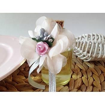 Çiçekli Mantar Tıpalı Kolonya Şişesi