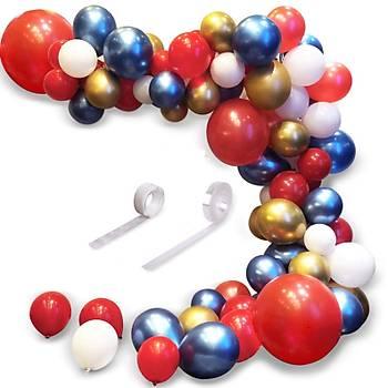 Kýrmýzý Mavi Gold Balon Zinciri - 100 Adet Balon , 5 mt Zincir Aparatý ve Balon Pompasý