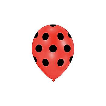 Kýrmýzý Puantiyeli Balon – 30 cm 10 Adet