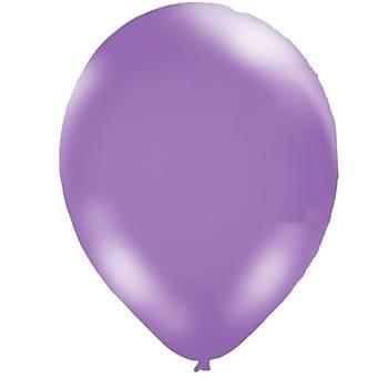 Mor Metalik Balon - 10 Adet