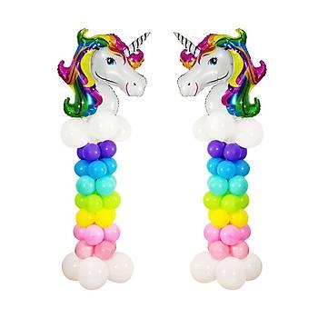 Unicorn Balon Sütunu 60 Balon ve Balon Sütunu Aparatý
