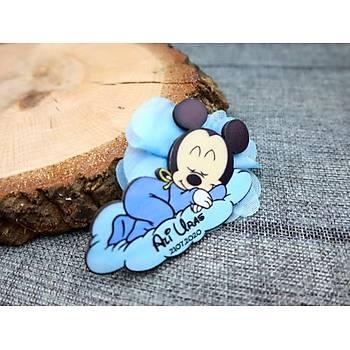 Mickey Mouse Ahþap Bebek Doðum Günü Hediyelik Bebek Magnet Bebek Þekeri