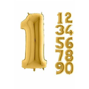 1 Rakam Gold Renk Folyo Balon 60cm