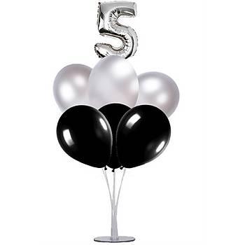 Siyah Gümüþ 5 Yaþ Balonlu Balon Standý - 1 Adet Stand ve 10 Adet Metalik Balon ve 50 cm Folyo Balon