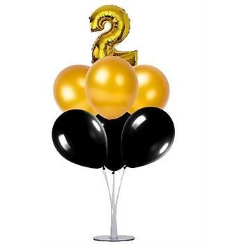 Siyah Gold 2 Yaþ Balonlu Balon Standý - 1 Adet Stand ve 10 Adet Metalik Balon ve 50 cm Folyo Balon