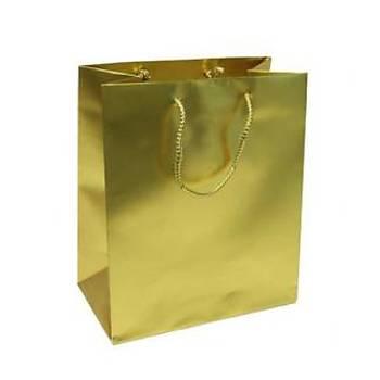 Küçük Gold Karton Çanta 11-11 cm - 50 Adet