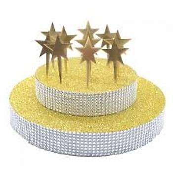 Gold Pleksi Yýldýz Cup Cake Pasta Süsü 8'li