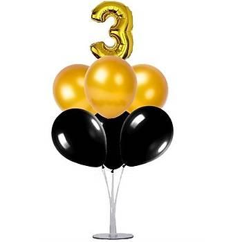 Siyah Gold 3 Yaþ Balonlu Balon Standý - 1 Adet Stand ve 10 Adet Metalik Balon ve 50 cm Folyo Balon