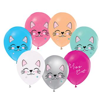 Miss Cat - Kedi  Baskýlý Balon – 30 cm 10 Adet