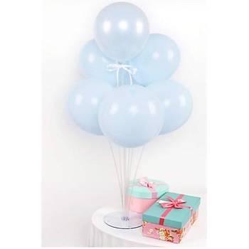 Makaron Mavi Balonlu Balon Standý - 1 Adet Stand ve 10 Adet Balon