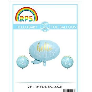 Mavi Hello Baby Folyo Balon Seti 3'lü