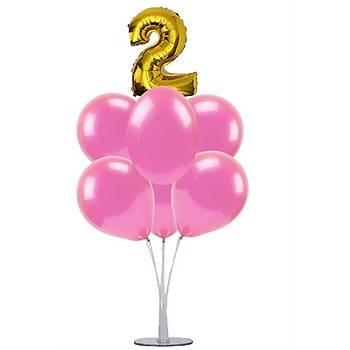 Pembe 2 Yaþ Balonlu Balon Standý - 1 Adet Stand ve 10 Adet Metalik Balon ve 50 cm Folyo Balon