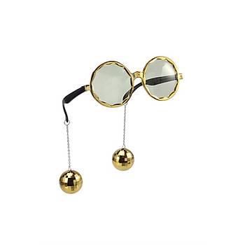 Küpeli Gözlük Gold Parti Gözlüðü