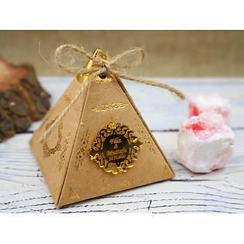 Piramit Lokum Kutusu - Güllü Lokum