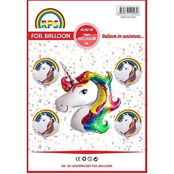 5'li Unicorn Folyo Balon Seti