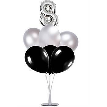 Siyah Gümüþ 8 Yaþ Balonlu Balon Standý - 1 Adet Stand ve 10 Adet Metalik Balon ve 50 cm Folyo Balon