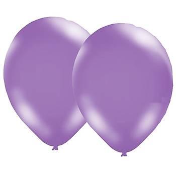 Mor Metalik Balon - 50 Adet