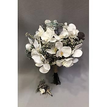 Kuru Çiçekli Orkideli Gelin Buketi ve Damat Yaka Ýðnesi