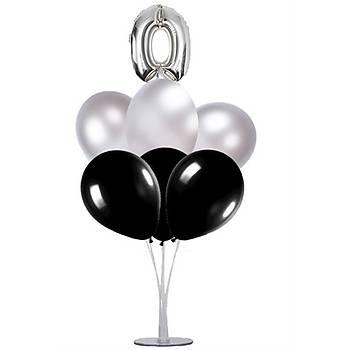 Siyah Gümüþ 0 Yaþ Balonlu Balon Standý - 1 Adet Stand ve 10 Adet Metalik Balon ve 50 cm Folyo Balon