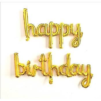 Gold Happy Birthday Folyo Balon