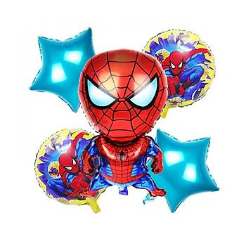 5'li Spiderman Folyo Balon Seti