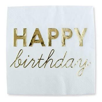 Varak Baskýlý Happy Birthday Peçete Gold16'lý