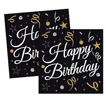 Siyah Happy Birthday Peçete 16'lý