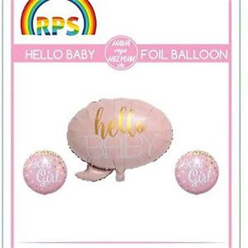 Pembe Hello Baby Folyo Balon Seti 3'lü