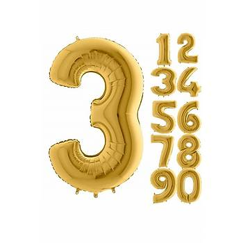 3 Rakam Gold Renk Folyo Balon 60cm