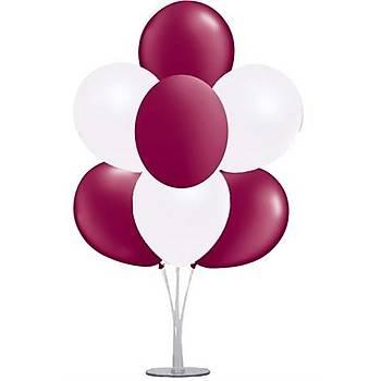 Bordo Beyaz Balonlu Balon Standý - 1 Adet Stand ve 10 Adet Balon