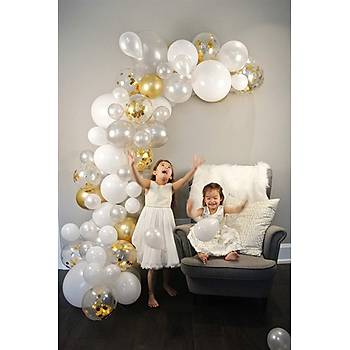Gold Beyaz Balon Zinciri - 100 Adet Balon , 5 mt Zincir Aparatý ve Balon Pompasý