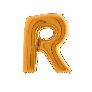 R Harfi Gold Renk Folyo Balon 60cm