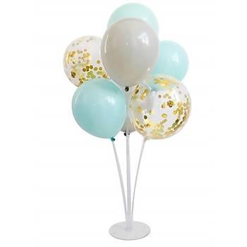 Mint Konfetili Balonlu Balon Standý - 1 Adet Stand ve 10 Adet Balon