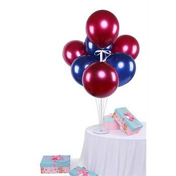 Bordo Mavi Balonlu Balon Standý - 1 Adet Stand ve 10 Adet Balon