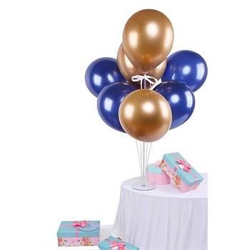 Lacivert Gold Balonlu Balon Standý - 1 Adet Stand ve 10 Adet Metalik Balon