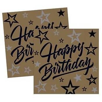 Gold Happy Birthday Peçete 16'lý
