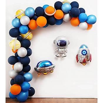 Folyo Balonlu Uzay Konsept Balon Zinciri - 100 Adet Balon , 5 mt Zincir Aparatý ve Balon Pompasý