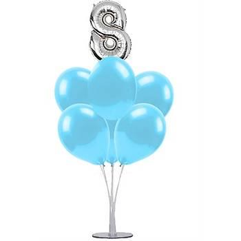 Mavi 8 Yaþ Balonlu Balon Standý - 1 Adet Stand ve 10 Adet Metalik Balon ve 50 cm Folyo Balon