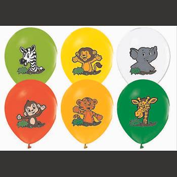 Safari Hayvan Baskýlý Balon – 30 cm 10 Adet