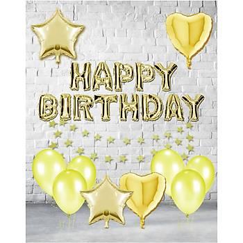 Gold Happy Birthday Balonlu Set