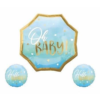 Mavi Oh Baby Folyo Balon Seti 3'lü