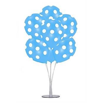 Mavi Puantiyeli Balonlu Balon Standý - 1 Adet Stand ve 10 Adet Balon