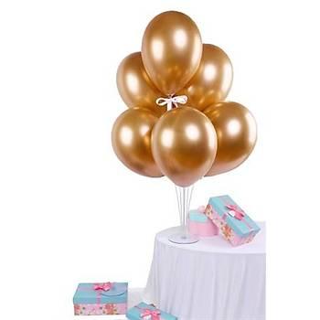 Krom Bakýr Rengi Balonlu Balon Standý - 1 Adet Stand ve 10 Adet Krom Balon