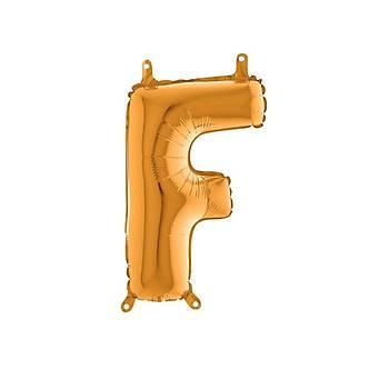 F Harfi Gold Renk Folyo Balon 100cm