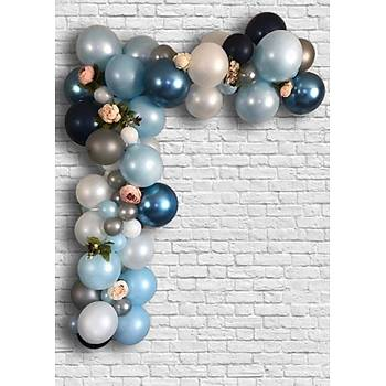 Lacivert Mavi Balon Zinciri - 100 Adet Balon , 5 mt Zincir Aparatý ve Balon Pompasý