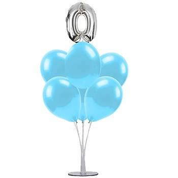 Mavi 0 Yaþ Balonlu Balon Standý - 1 Adet Stand ve 10 Adet Metalik Balon ve 50 cm Folyo Balon